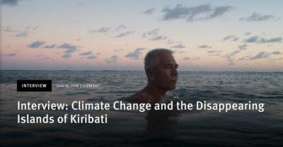 Anote Tong, then president of Kiribati, swims in the lagoon near his home
