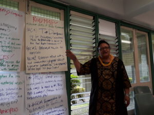 Pefi Kingi makes a presentation during the Pacific CSO's forum in Suva