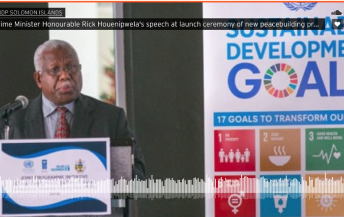Prime Minister Honourable Rick Houenipwela speech at launch ceremony of new peacebuilding project