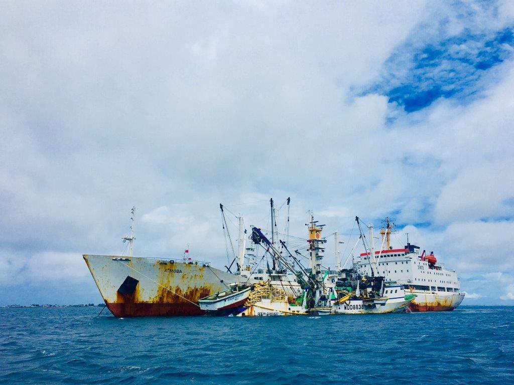 A fishing vessel in Majuro lagoon
