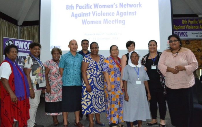 Miles Young and Neomai Maravuakula of SPC's Regional Rights Resource Team (RRRT) with members of the Pacific Women's Network Against Violence Against Women at the Warwick Resort in Fiji. Photo: FWCC