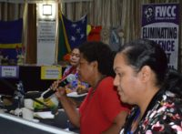 Lesila To'ia of the Tonga Women and Children Crisis Centre (TWCCC), Raijeli Mawa, of Fiji's Ministry of Women, Children and Poverty Alleviation, and Ofa Guttenbeil-Likiliki, Director of TWCCC during a panel discussion at the 8th Meeting of the Pacific Women's Network Against Violence Against Women in Fiji. Photo: FWCC