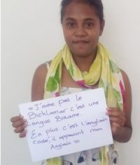 Figure 3: 'I don't like bislama, it's a weird language. And it's broken English. It impoverishes my English'
