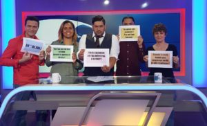 "Figure 36: The presenters and participants of the TV show '#lelien' share linguistic their micro-aggressions. Translations of the transcripts they are holding (from left to right) 1) '****(insult) 'ZOR' (comes from 'zoreille', slang for 'white') 2) 'You don't have the right accent when you speak drehu' 3) 'You're Caldoche and you don't even have the accent!' ('Caldoche' is slang for native-born European, French settlers and their descendants established in NC) 4) 'You don't speak Javanese? You're a fake ""kakane""!' 5) 'Wait a sec, you've been in NC for how long? Let me teach you how it works…'"