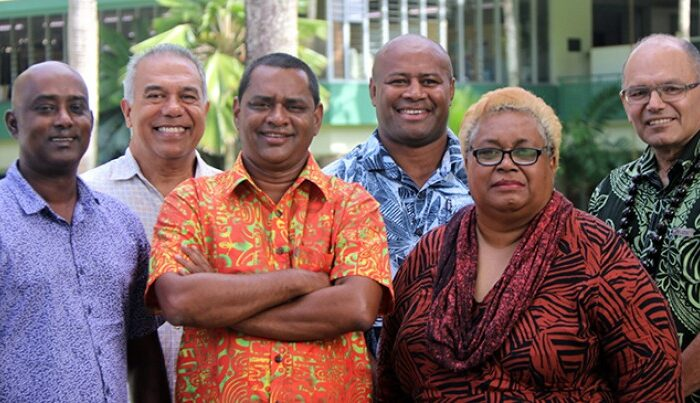 Moderator Stanley Simpson with panelists of our Education episode: Dr Neelesh Gounder, Larry Thomas, Seremaia Bai, Hector Hatch, Ufemia Camaitoga